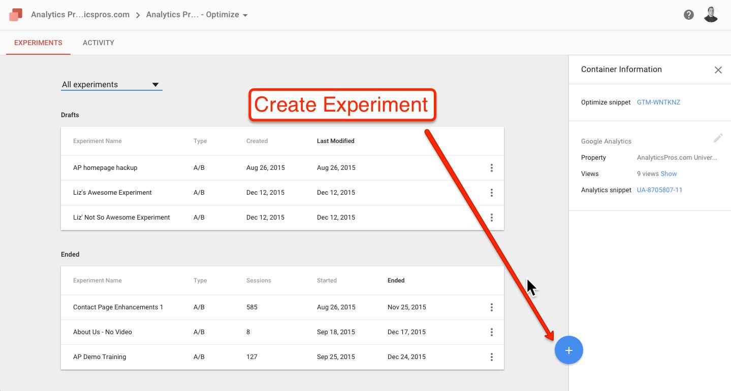 1. Create Experiment