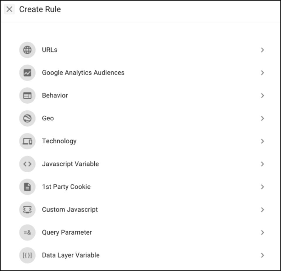 Google Optimize Create Rule 4