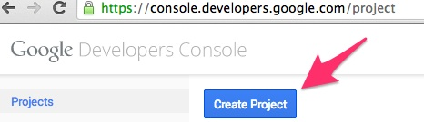 Create a new project in Google Developers Console