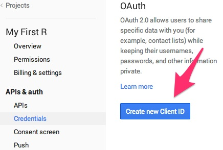Create new Client ID