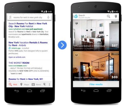 Google is now indexing deep links to include in mobile search