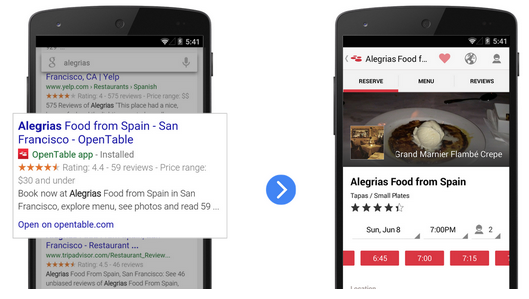 Deep Linking takes users from search results to mobile apps